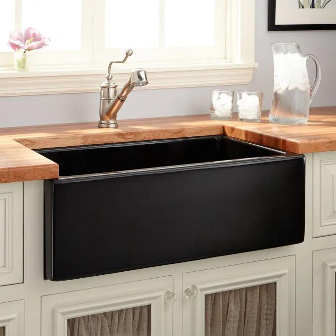 """30"""" Mitzy Fireclay Lightweight Rerversible Farmhouse Sink - Smooth Apron - Black"""