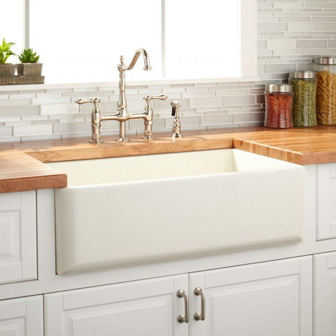 """33"""" Grigham Reversible Farmhouse Sink Smooth Apron - Biscuit"""