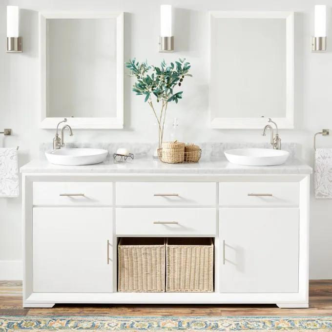 """72"""" Davyn Mahogany Double Vanity for Semi-Recessed Sinks - White"""