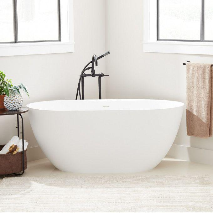"""59"""" Catino Solid Surface Freestanding Tub - Matte Finish"""