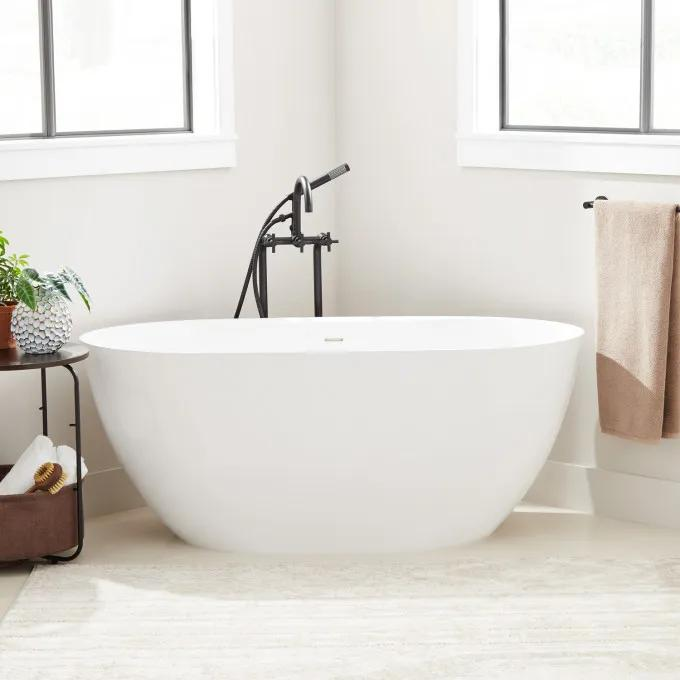 """59"""" Patera Solid Surface Freestanding Tub - Gloss Finish"""
