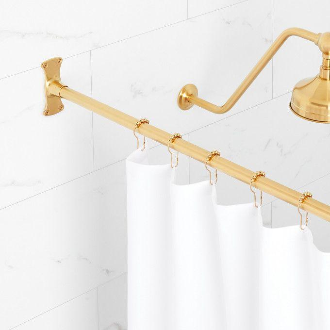 Straight Solid Brass Shower Curtain Rod