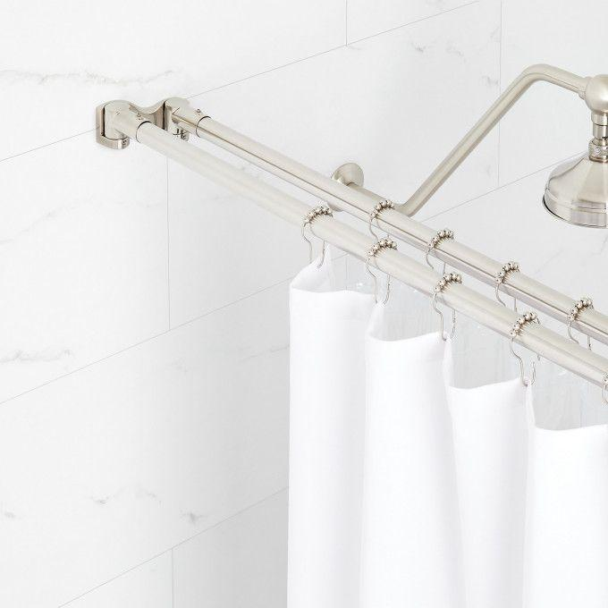Straight Double Solid Brass Shower Curtain Rod