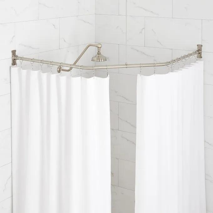 Neo Angle Solid Brass Shower Rod And, Odd Shaped Shower Curtain Rods