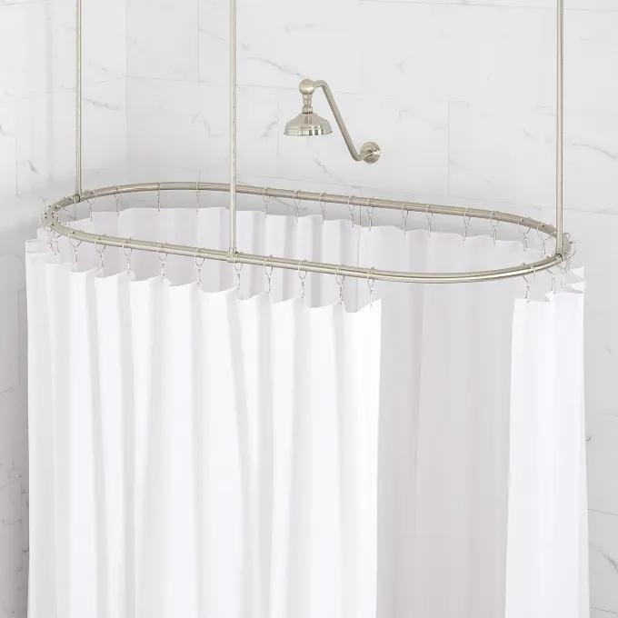 """30"""" X 60"""" Oval Brass Shower Ring and Ceiling Supports - Brushed Nickel"""