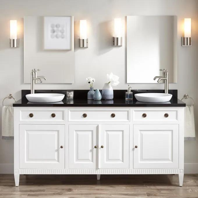 "72"" Hawkins Mahogany Double Vanity for Semi-Recessed Sink - White"
