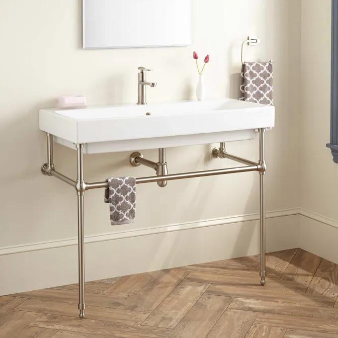 Stoddert Porcelain Console Sink with Brass Stand