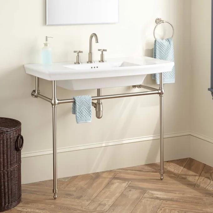 Olney Porcelain Console Sink with Brass Stand