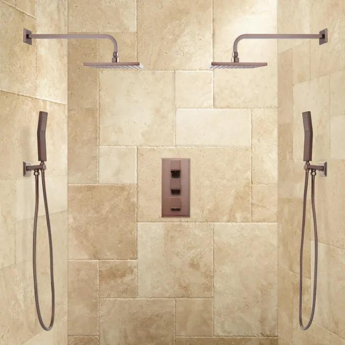 Ryle Dual Wall-Mount Rainfall Shower System with Hand Shower