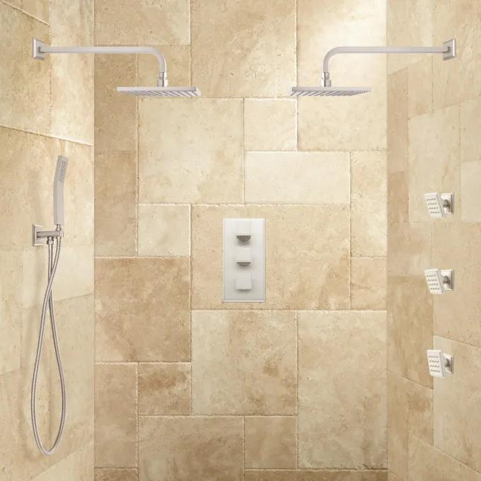 Ryle Dual Wall-Mount Rainfall Shower System with Hand Shower & Body Sprays