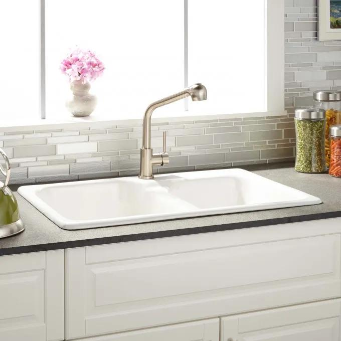 "33"" Elgin 60/40 White Double Bowl Cast Iron Drop-in Kitchen Sink - Single Hole Faucet Drilling"