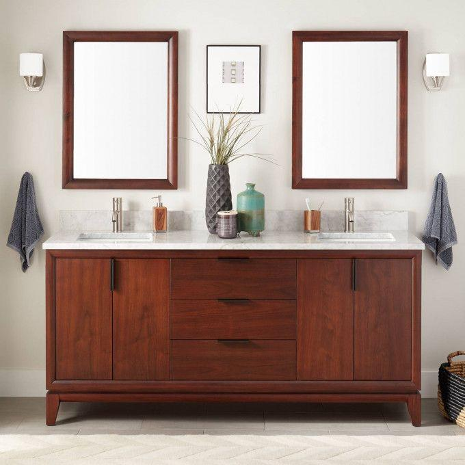 "72"" Talyn Mahogany Double Vanity for Rectangular Undermount Sinks - Light Walnut"