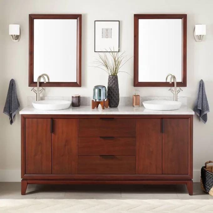 "72"" Talyn Mahogany Double Vanity for Semi-Recessed Sinks - Light Walnut"