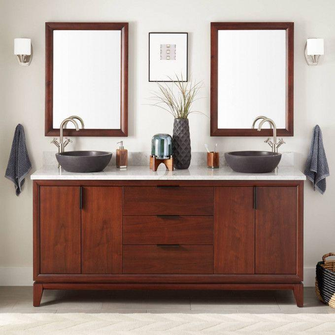 "72"" Talyn Mahogany Vessel Sink Double Vanity - Light Walnut"