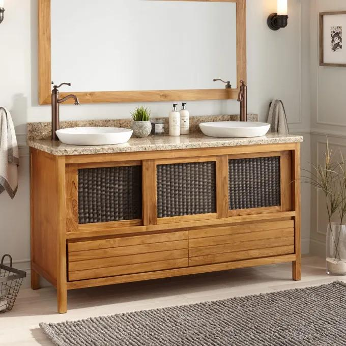 60 Holloway Teak Double Vanity For Semi Recessed Sinks Natural Teak Bathroom