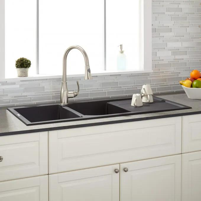 """46"""" Tansi Double-Bowl Drop-In Sink with Drainboard - Black"""