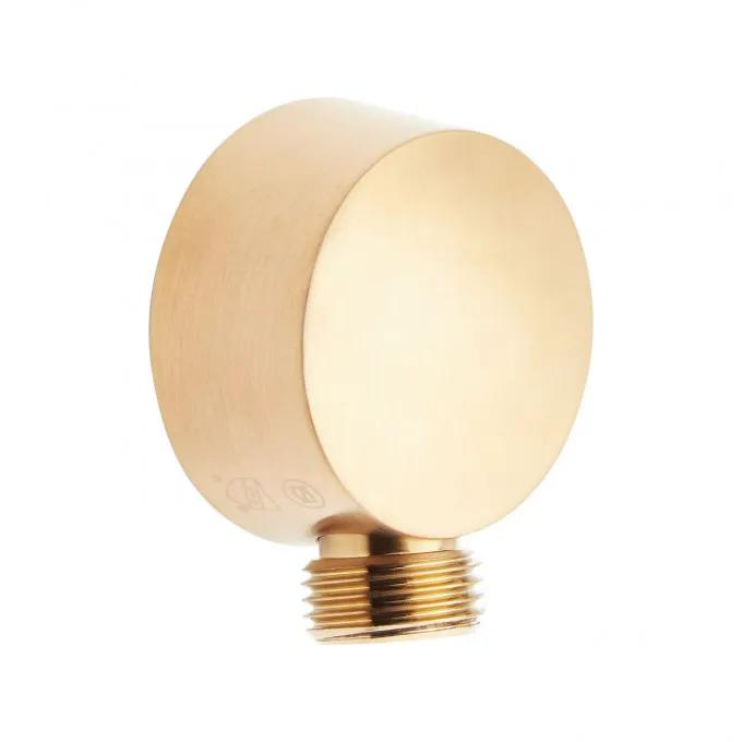 Contemporary Round Water Supply Elbow for Hand Shower - Brushed Gold