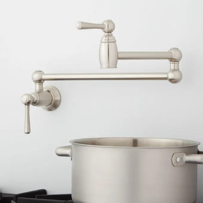 Poncia Retractable Wall-Mount Pot Filler - Brushed Nickel