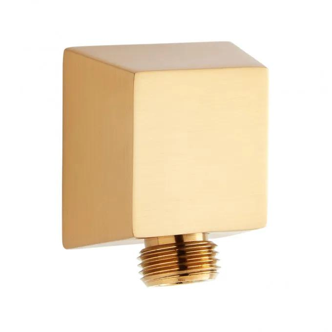 Contemporary Square Water Supply Elbow for Hand Shower - Brushed Gold