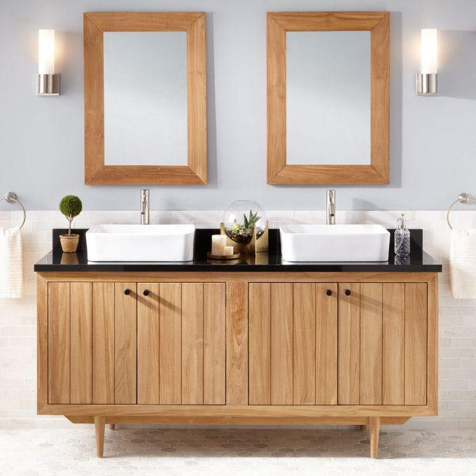 "72"" Osa Teak Double Vessel Sink Vanity - Natural Teak"