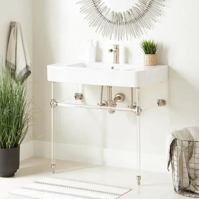 """34"""" Burleson Porcelain Console Sink with Acrylic Stand"""