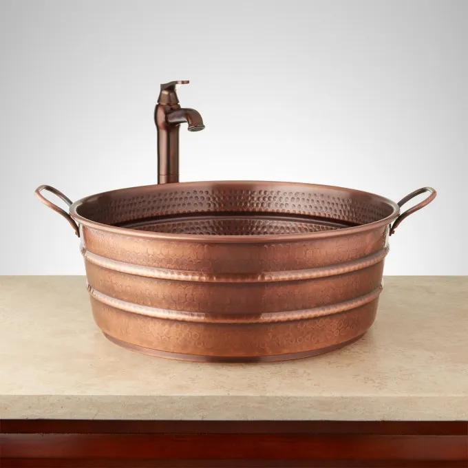 "18"" Copper Bucket Vessel Sink - Hammered - Copper Handle"