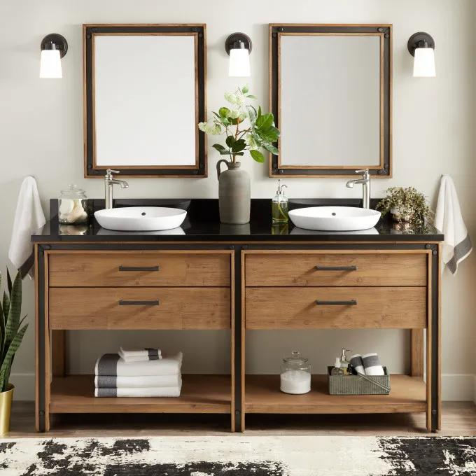"""72"""" Celebration Console Double Vanity for Semi-Recessed Sinks - Rustic Acacia"""