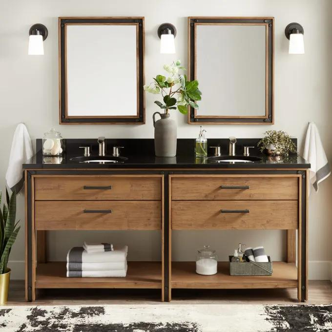 """72"""" Celebration Console Double Vanity for Undermount Sinks - Rustic Acacia"""