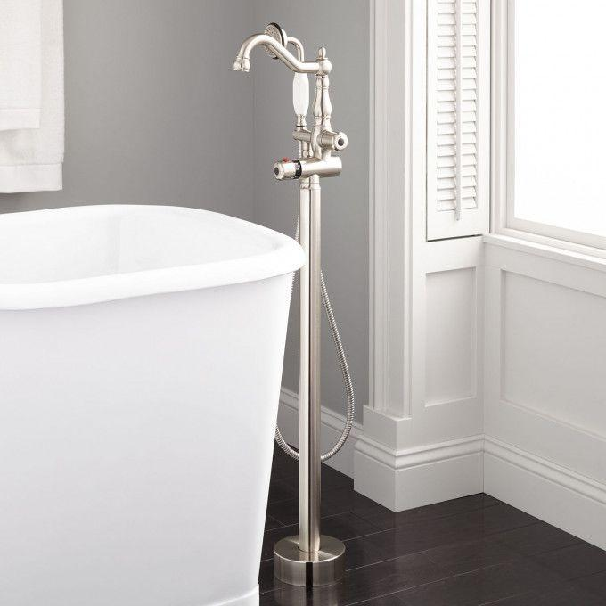 Keswick Freestanding Thermostatic Tub Faucet and Hand Shower - Brushed Nickel