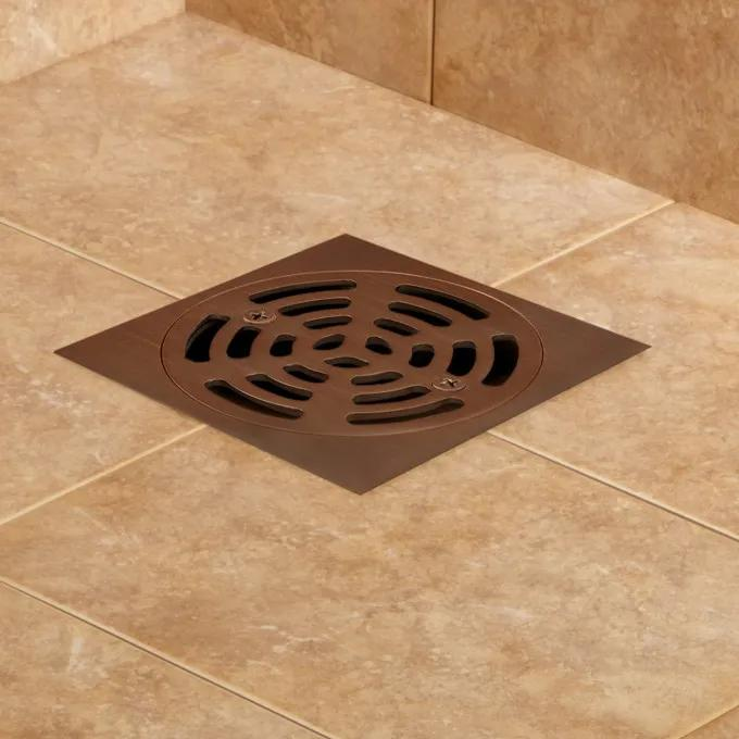 """2"""" PVC Adjustable Shower Drain With Brass Strainer - Oil Rubbed Bronze"""