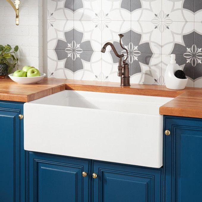 "30"" Torun Fireclay Farmhouse Sink - Tiered Rim - White"