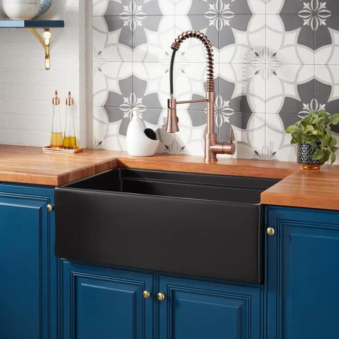 "30"" Torun Fireclay Farmhouse Sink - Tiered Rim - Matte Black"