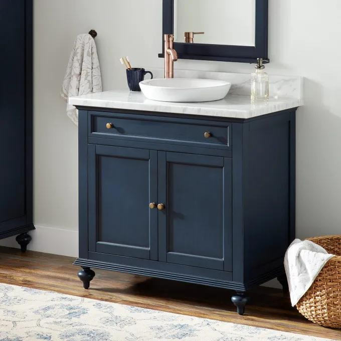 "36"" Keller Vanity for Semi-Recessed Sink - Navy Blue"