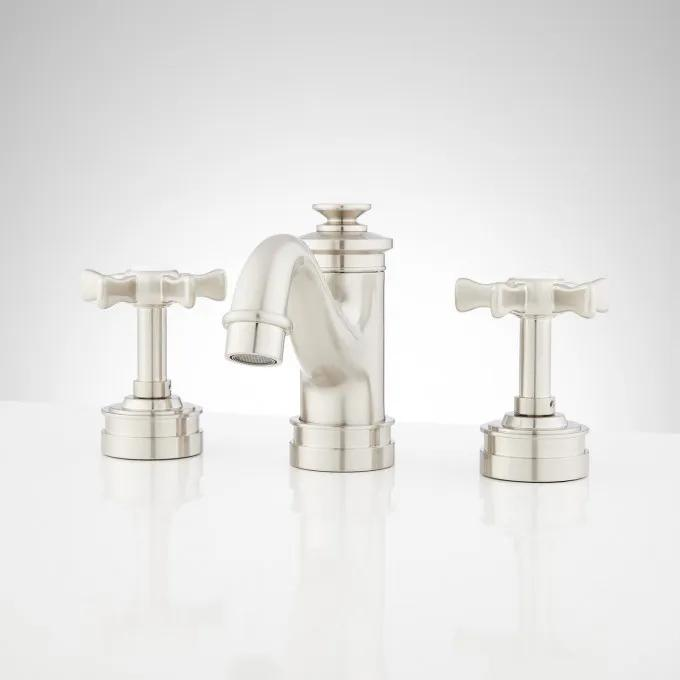 Mellwood Widespread Bathroom Faucet With Cross Handles - Brushed Nickel - Front