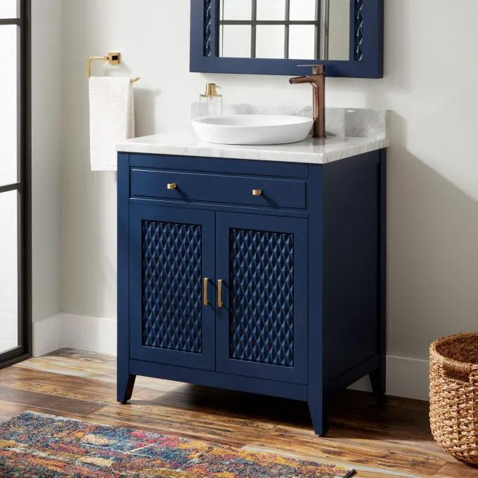 "30"" Thorton Mahogany Vanity for Semi-Recessed Sink - Navy Blue"