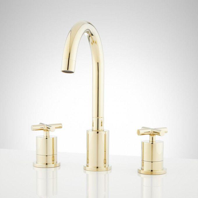 Exira Widespread Bathroom Faucet - Polished Brass - Front