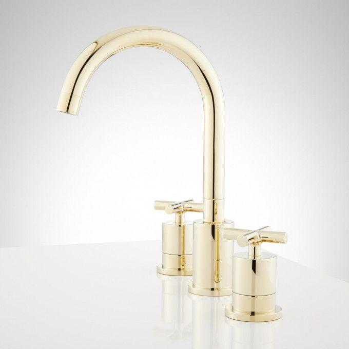 Exira Widespread Bathroom Faucet - Polished Brass - Side