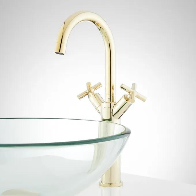 Exira Single-Hole Vessel Faucet with Pop-Up Drain - Polished Brass