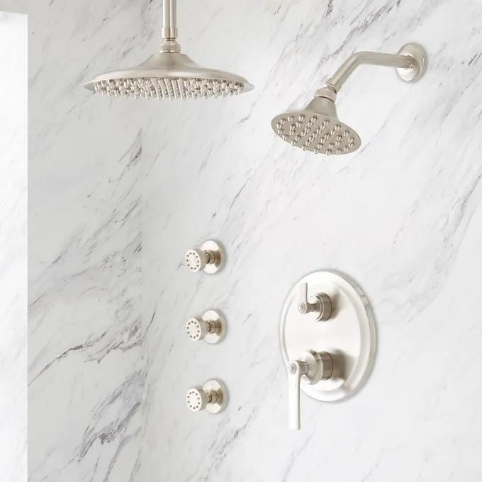 Cooper Pressure Balance Shower System with Rainfall Shower, Wall Shower & 3 Body Sprays