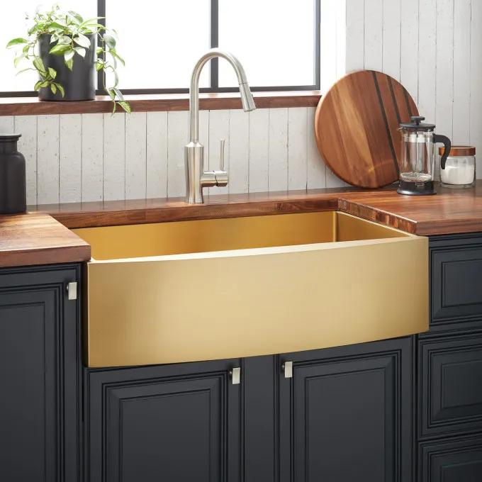"30"" Atlas Stainless Steel Farmhouse Sink - Curved Apron - Matte Gold"
