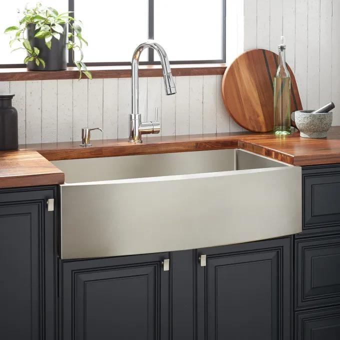 """30"""" Atlas Stainless Steel Farmhouse Sink - Curved Apron - Pewter"""