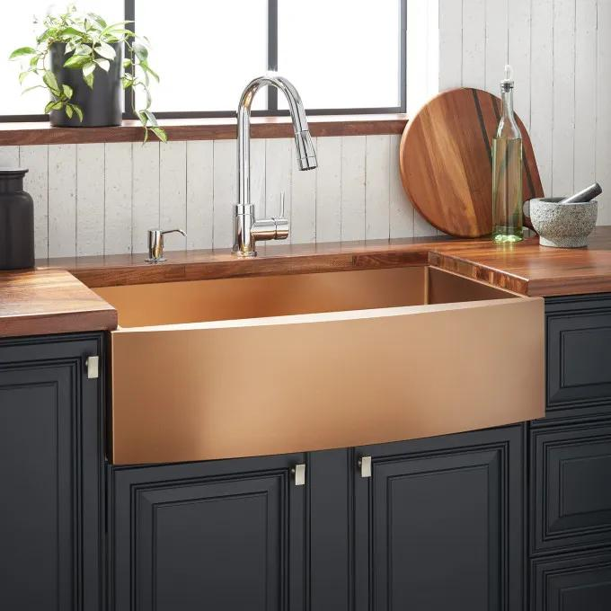 "30"" Atlas Stainless Steel Farmhouse Sink - Curved Apron - Bronze"