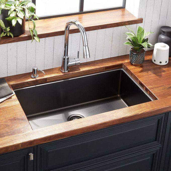 "32"" Atlas Stainless Steel Undermount Kitchen Sink - Gunmetal"