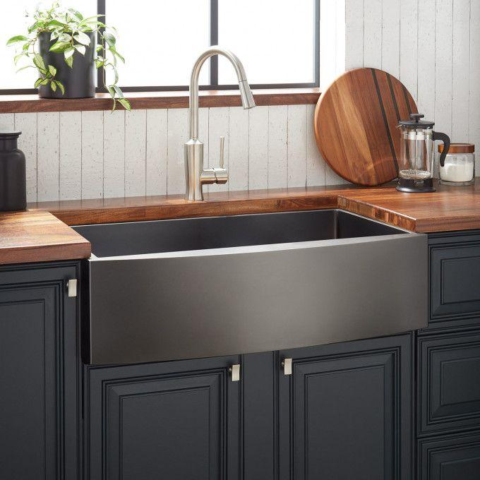 "33"" Atlas Stainless Steel Farmhouse Sink - Curved Apron - Gunmetal"