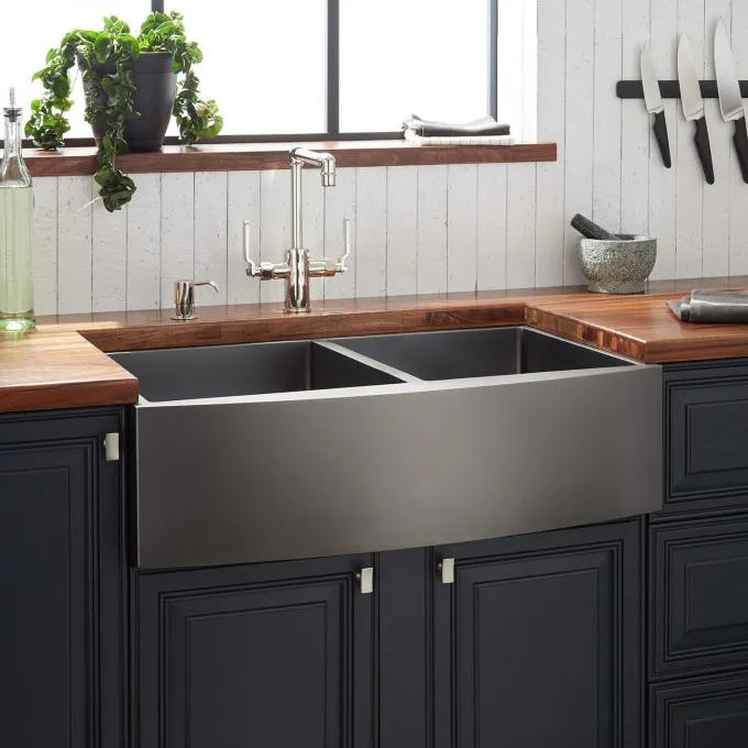 "33"" Atlas Double-Bowl Stainless Steel Farmhouse Sink - Curved Apron - Gunmetal"
