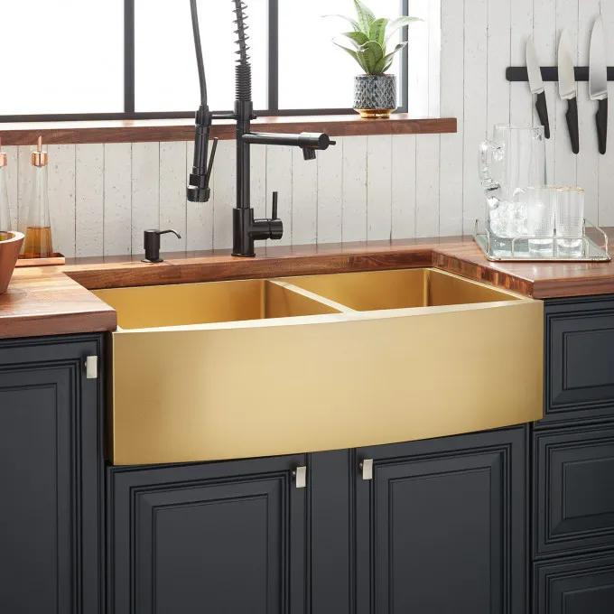 """33"""" Atlas Double-Bowl Stainless Steel Farmhouse Sink - Curved Apron - Matte Gold"""