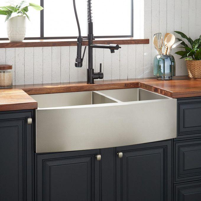 "33"" Atlas 60/40 Offset Double-Bowl Stainless Steel Farmhouse Sink - Curved Apron - Pewter"