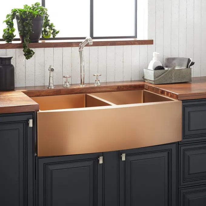 "33"" Atlas Double-Bowl Stainless Steel Farmhouse Sink - Curved Apron - Bronze"