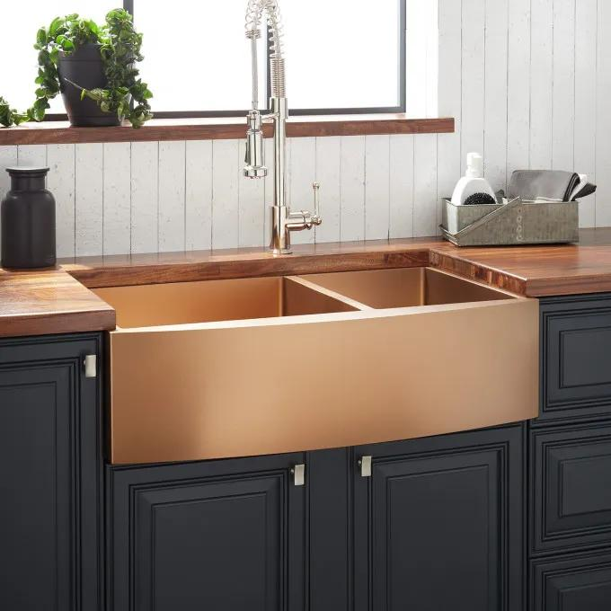 """33"""" Atlas 60/40 Offset Double-Bowl Stainless Steel Farmhouse Sink - Curved Apron - Bronze"""