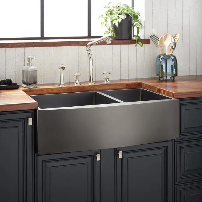 "36"" Atlas 60/40 Offset Double-Bowl Stainless Steel Farmhouse Sink - Curved Apron - Gunmetal"